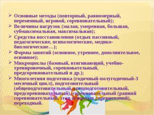 Основные методы (повторный, равномерный, переменный, игровой, соревновательны