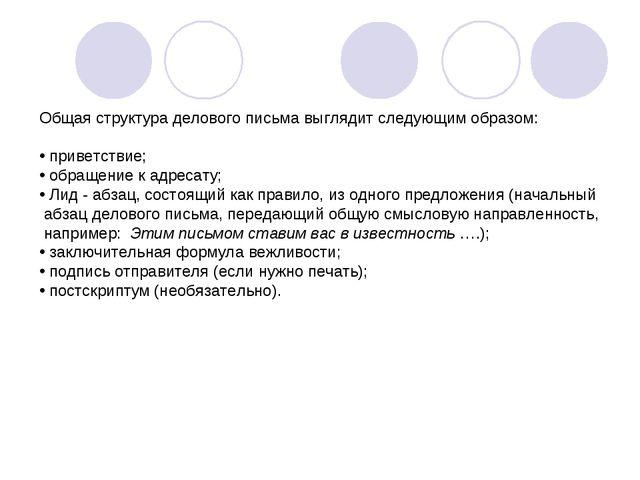 Общая структура делового письма выглядит следующим образом: приветствие; обра...