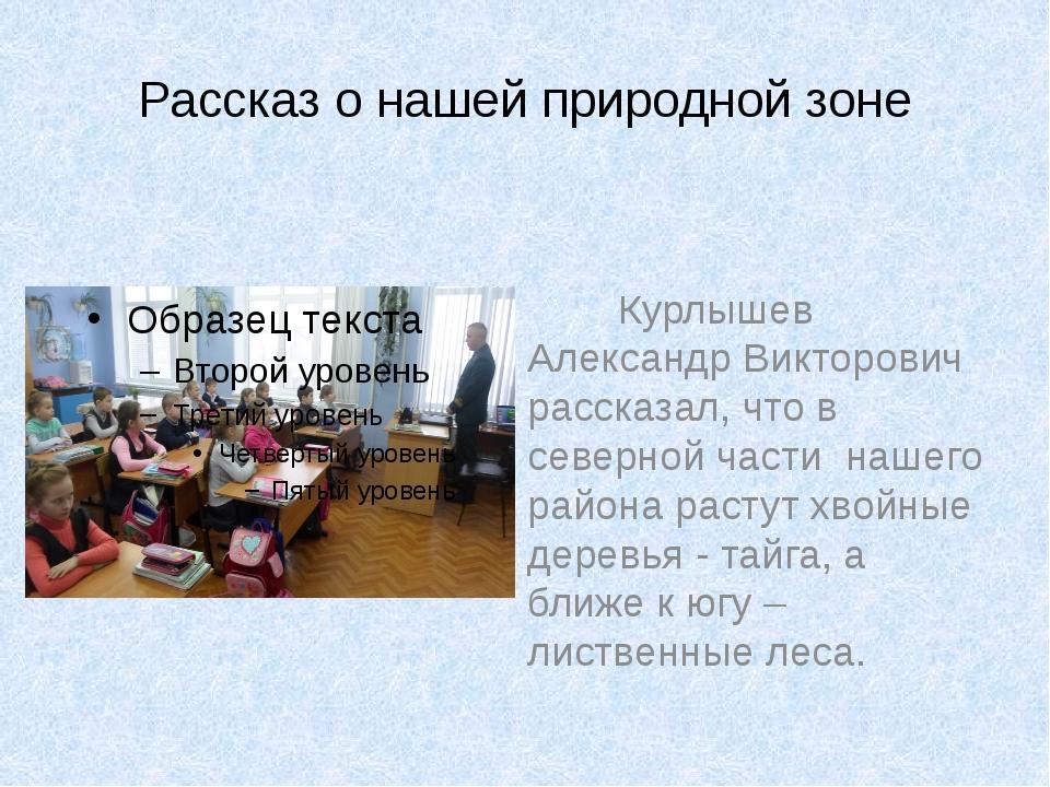 Рассказ о нашей природной зоне Курлышев Александр Викторович рассказал, что в...