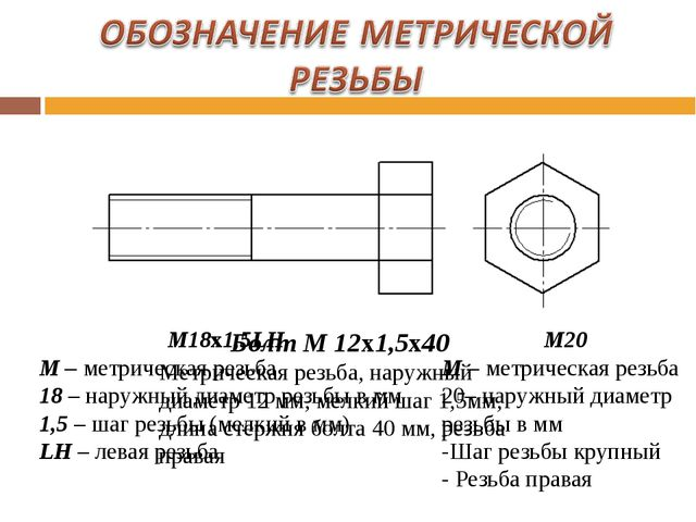М18х1,5LH М – метрическая резьба 18 – наружный диаметр резьбы в мм 1,5 – шаг...