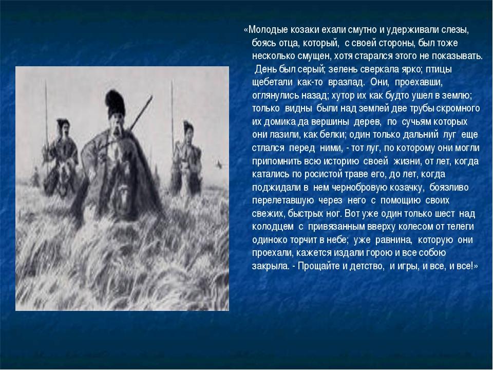 «Молодые козаки ехали смутно и удерживали слезы, боясь отца, который, с свое...