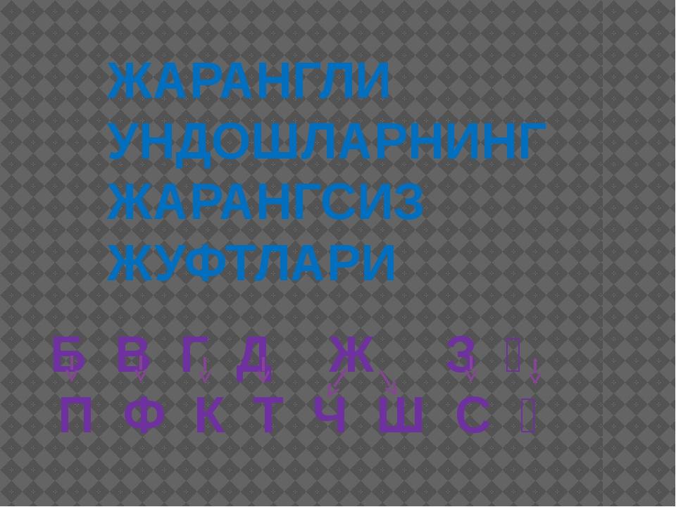 ЖАРАНГЛИ УНДОШЛАРНИНГ ЖАРАНГСИЗ ЖУФТЛАРИ Б В Г Д Ж З Ғ П Ф К Т Ч Ш С Қ