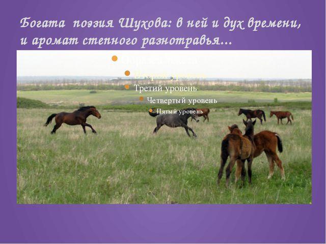 Богата поэзия Шухова: в ней и дух времени, и аромат степного разнотравья...