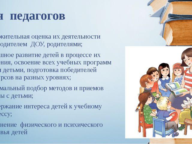 Для педагогов положительная оценка их деятельности руководителем ДОУ, родител...