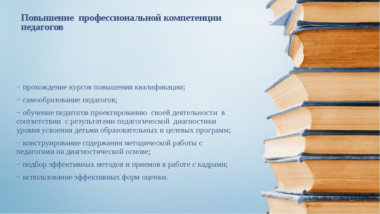 Повышение профессиональной компетенции педагогов − прохождение курсов повышен...