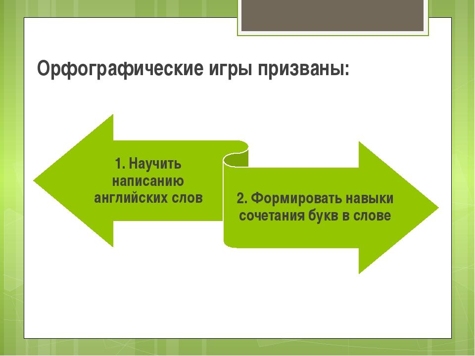 Орфографические игры призваны: