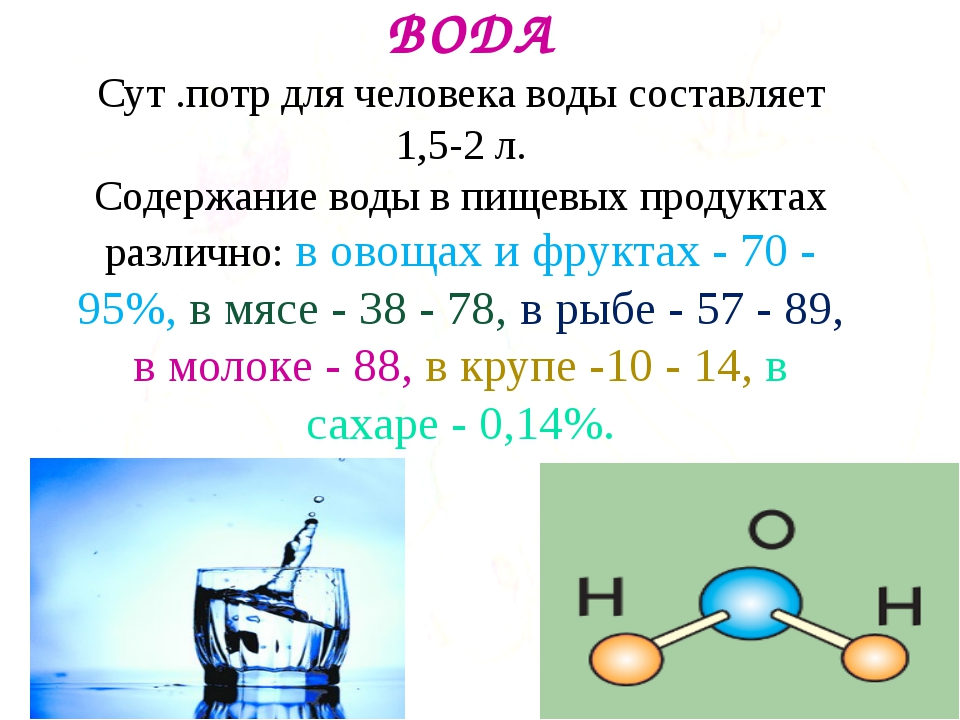 ВОДА Сут .потр для человека воды составляет 1,5-2 л. Содержание воды в пищев...