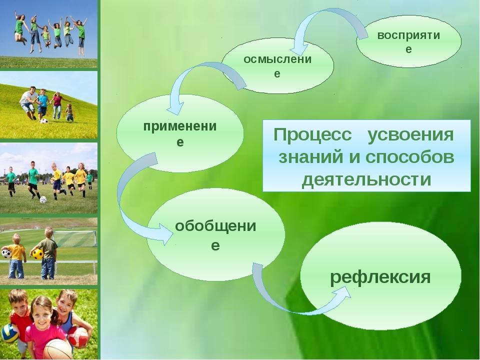 рефлексия обобщение применение осмысление восприятие Процесс усвоения знаний...