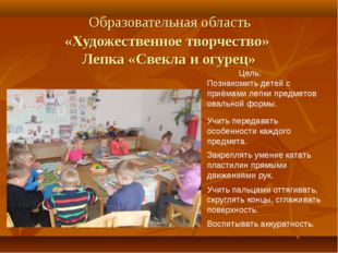 Образовательная область «Художественное творчество» Лепка «Свекла и огурец»