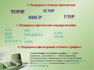 3. Поддержка протоколов маршрутизации 2. Поддержка сетевых протоколов 4. Подд