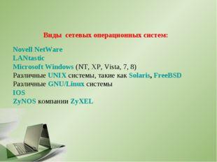 Виды сетевых операционных систем: Novell NetWare LANtastic Microsoft Windows