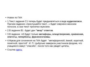 Новое по ГИА 1.Текст задания С1 теперь будет предъявляться в видеаудиозапис