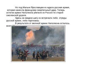 Но под Малым Ярославцем их ждала русская армия, которая нанесла французам см