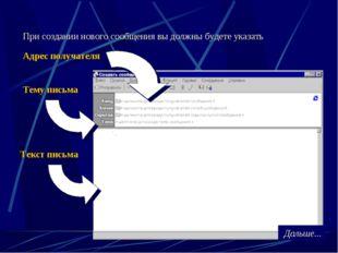 При создании нового сообщения вы должны будете указать Адрес получателя Тему