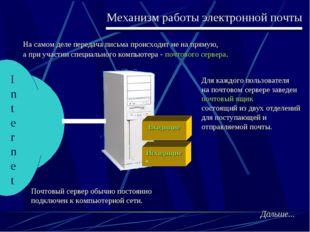Механизм работы электронной почты На самом деле передача письма происходит не