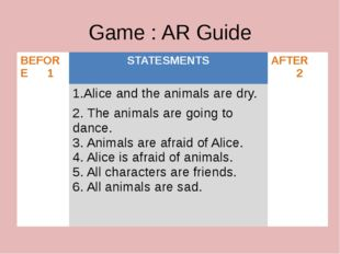 Game : AR Guide BEFORE 1 STATESMENTS AFTER 2 1.Aliceand the animals are dry.