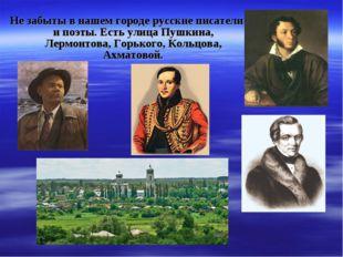 Не забыты в нашем городе русские писатели и поэты. Есть улица Пушкина, Лермон