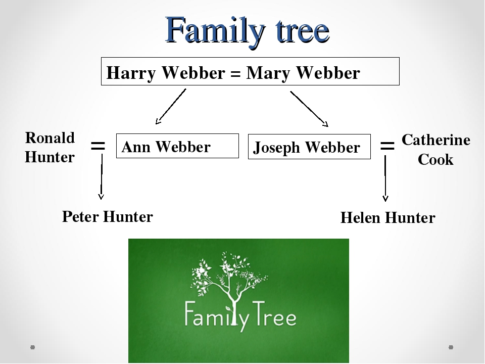 Family tree Harry Webber = Mary Webber Ann Webber Joseph Webber Ronald Hunter...
