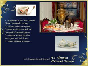 «…Смеркалось; на столе блистая Шипел вечерний самовар, Китайский чайник нагре