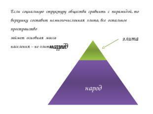 элита Если социальную структуру общества сравнить с пирамидой, то верхушку со