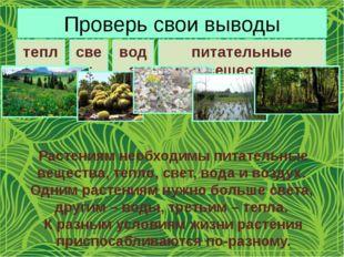 Проверь свои выводы тепло свет вода питательные вещества Растениям необходимы