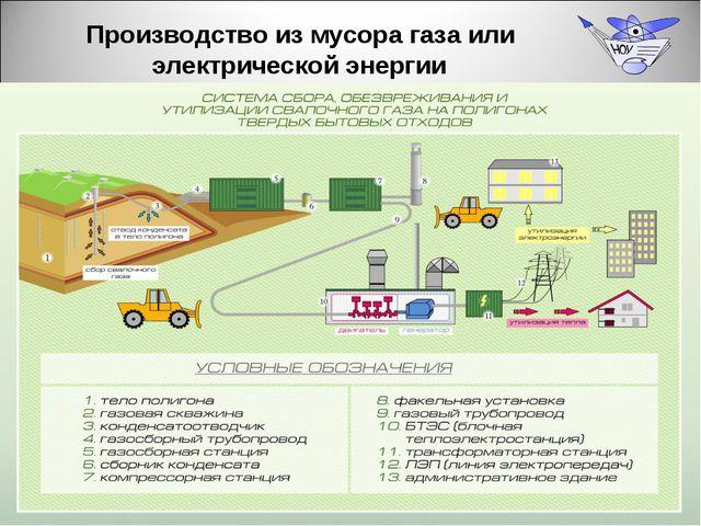 Производство из мусора газа или электрической энергии