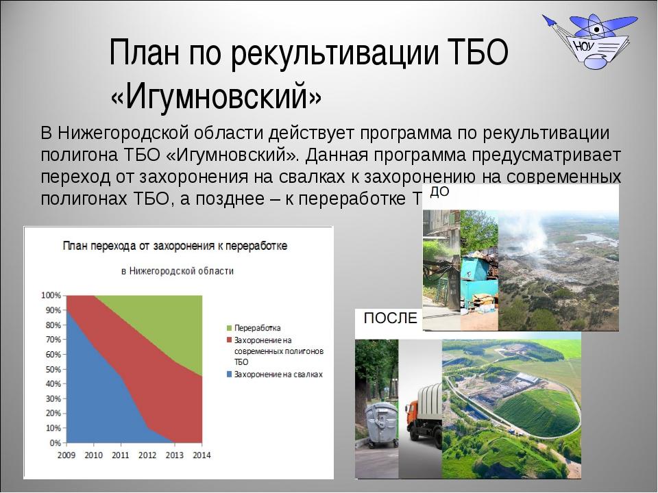 План по рекультивации ТБО «Игумновский» В Нижегородской области действует про...