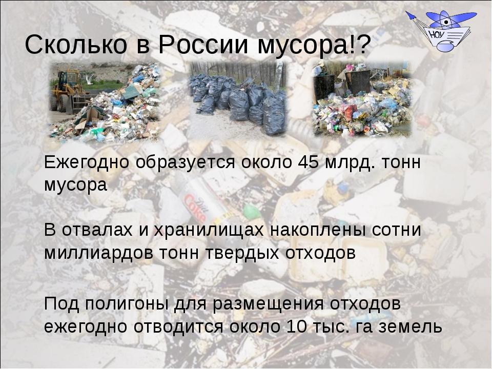 Ежегодно образуется около 45 млрд. тонн мусора В отвалах и хранилищах накопле...