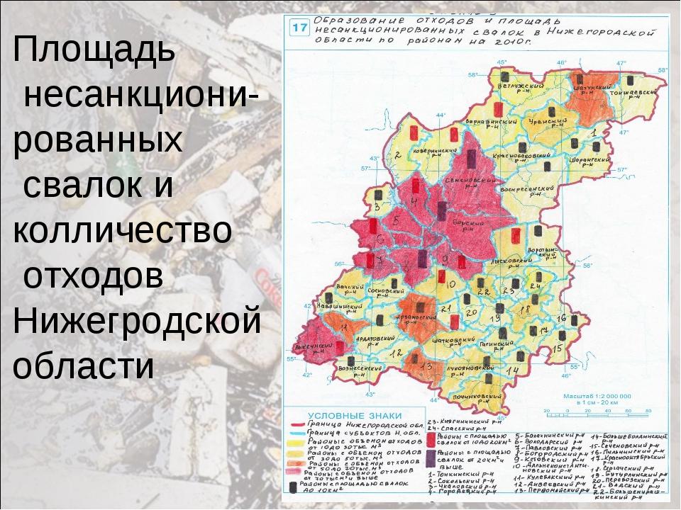 Площадь несанкциони- рованных свалок и колличество отходов Нижегродской области