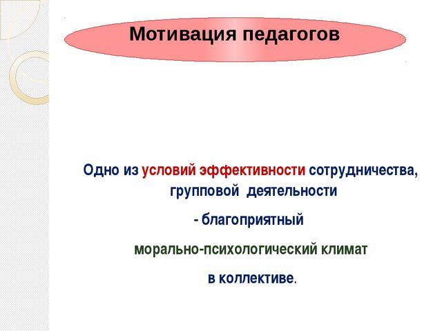 Одно из условий эффективности сотрудничества, групповой деятельности - благо...