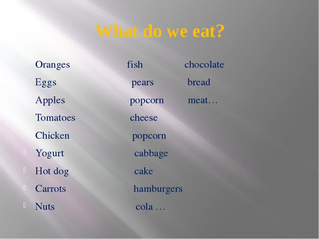 What do we eat? Oranges fish chocolate Eggs pears bread Apples popcorn meat…...