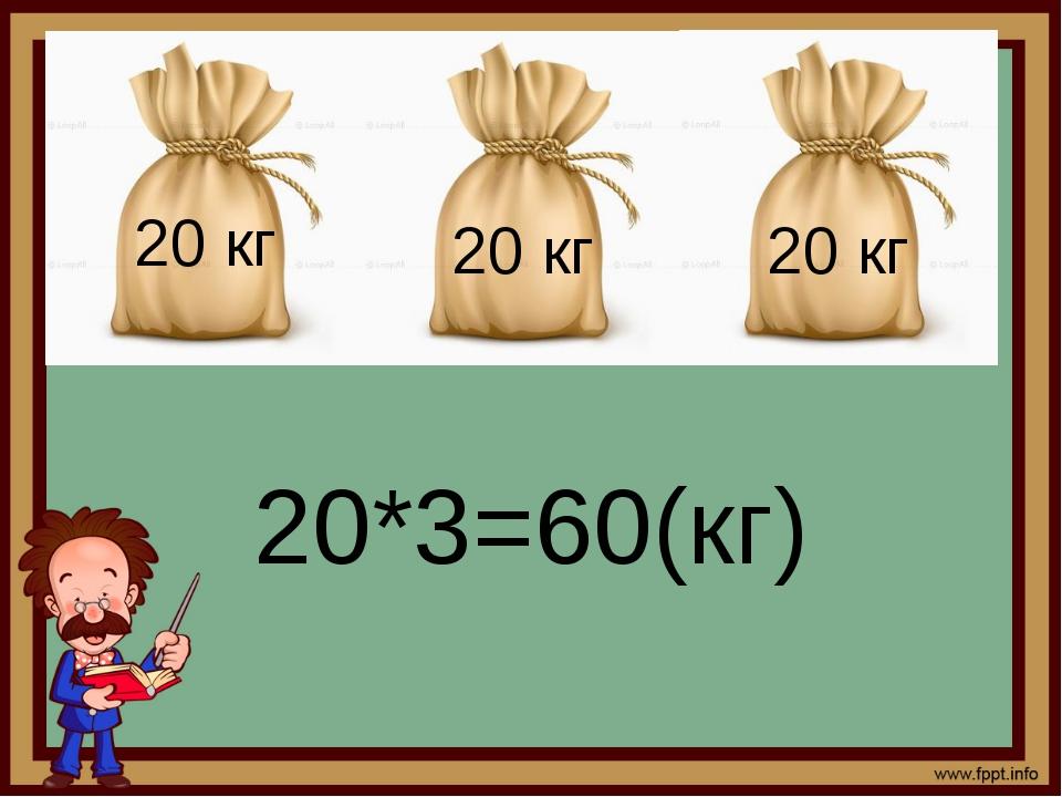 20 кг 20*3=60(кг) 20 кг 20 кг