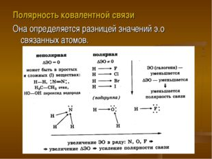 Полярность ковалентной связи Она определяется разницей значений э.о связанных