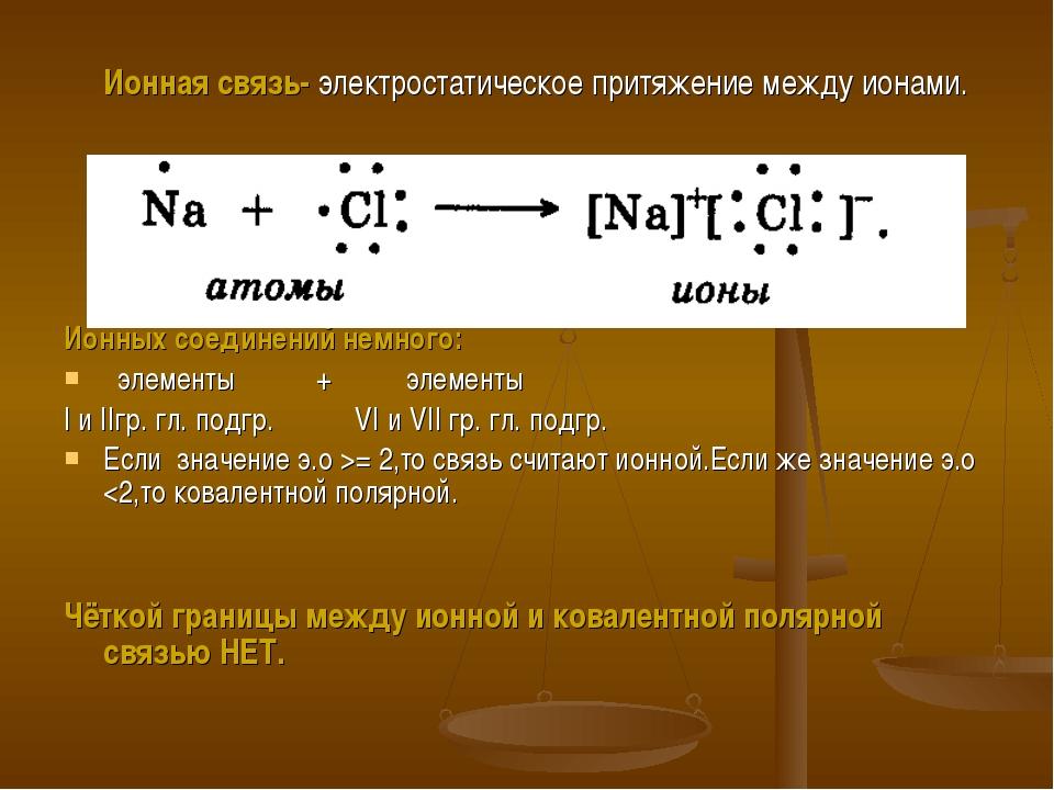 Ионная связь- электростатическое притяжение между ионами. Ионных соединений...