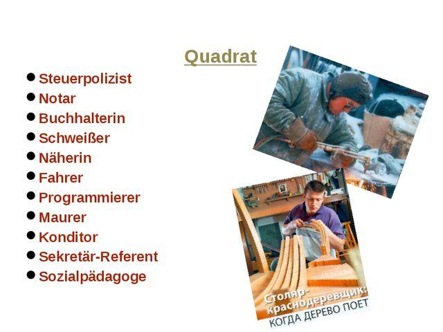 Quadrat Steuerpolizist Notar Buchhalterin Schweißer Näherin Fahrer Programmie...