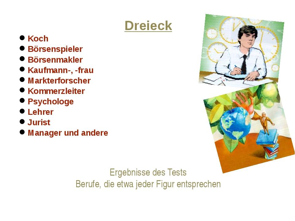 Ergebnisse des Tests Berufe, die etwa jeder Figur entsprechen Dreieck Koch Bö...
