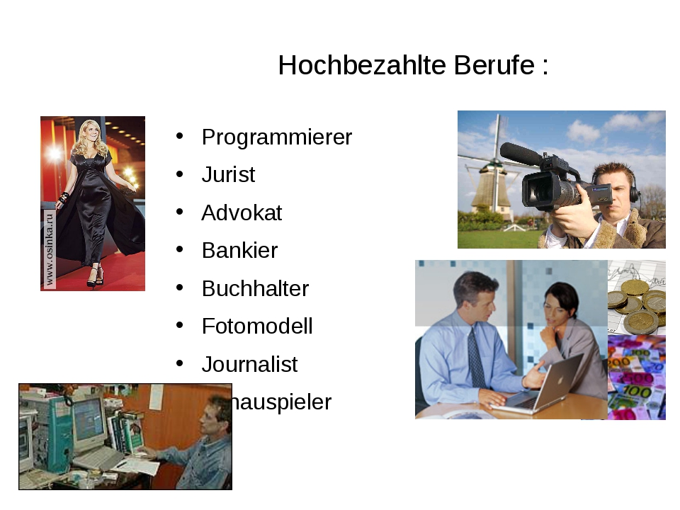Hochbezahlte Berufe : Programmierer Jurist Advokat Bankier Buchhalter Fotomod...
