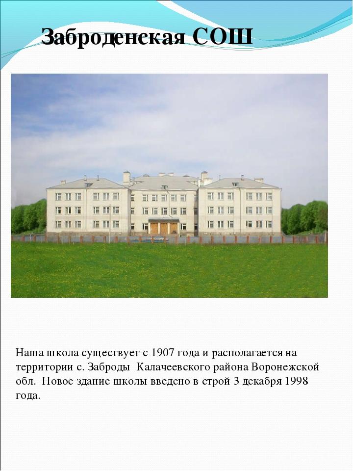 Наша школа существует с 1907 года и располагается на территории с. Заброды Ка...