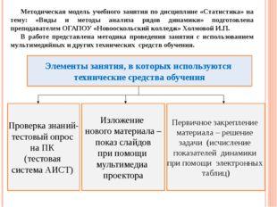 Методическая модель учебного занятия по дисциплине «Статистика» на тему: «Вид
