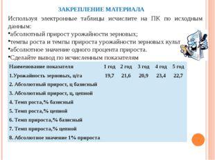 ЗАКРЕПЛЕНИЕ МАТЕРИАЛА Используя электронные таблицы исчислите на ПК по исходн