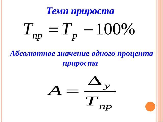 Темп прироста Абсолютное значение одного процента прироста