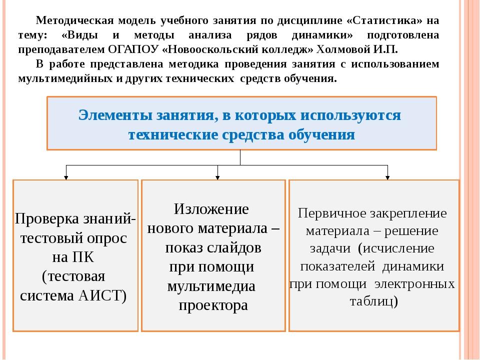 Методическая модель учебного занятия по дисциплине «Статистика» на тему: «Вид...