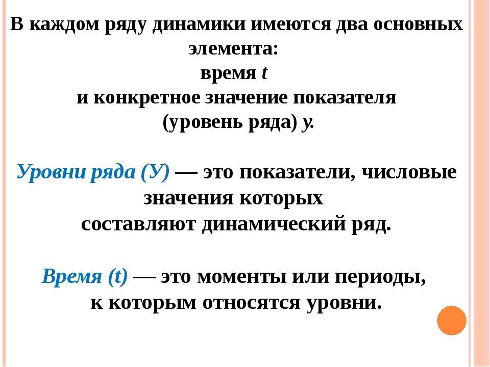 В каждом ряду динамики имеются два основных элемента: время t и конкретное зн...