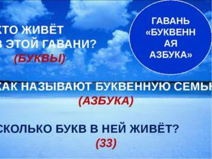 ГАВАНЬ «БУКВЕННАЯ АЗБУКА» - КТО ЖИВЁТ В ЭТОЙ ГАВАНИ? (БУКВЫ) - КАК НАЗЫВАЮТ Б