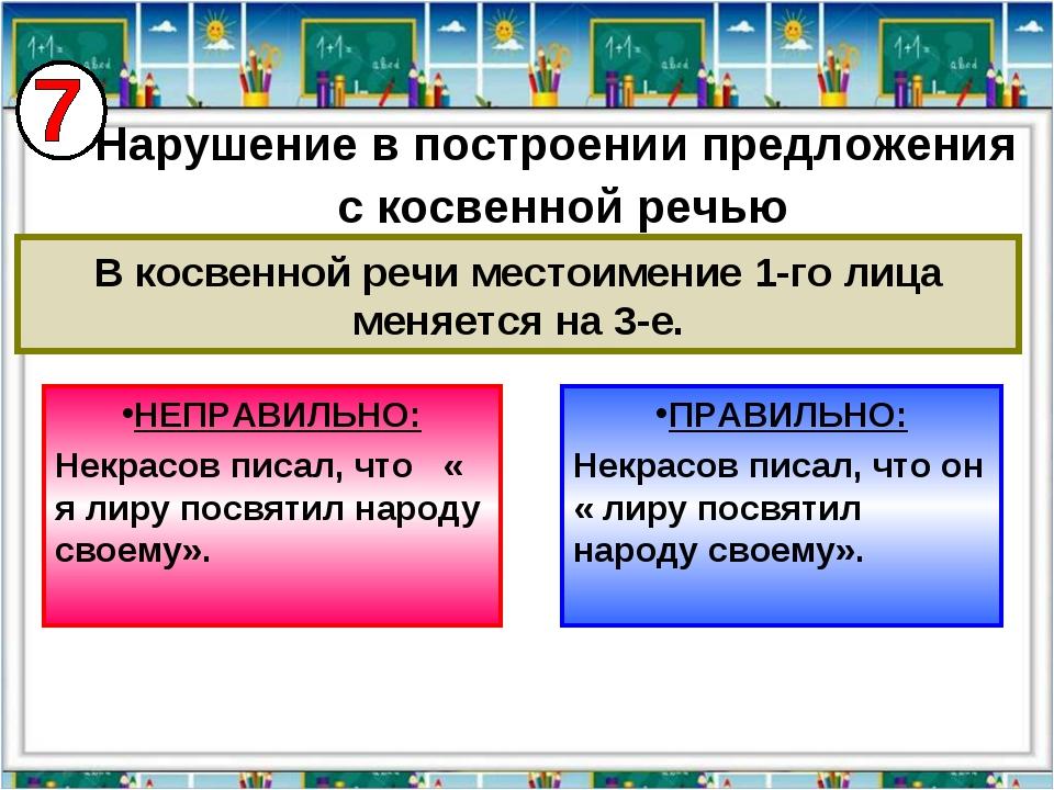 НЕПРАВИЛЬНО: Некрасов писал, что « я лиру посвятил народу своему». ПРАВИЛЬНО:...