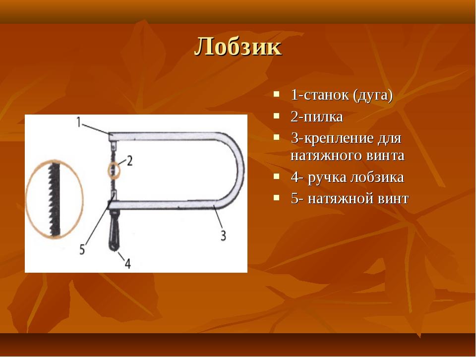 Лобзик 1-станок (дуга) 2-пилка 3-крепление для натяжного винта 4- ручка лобзи...