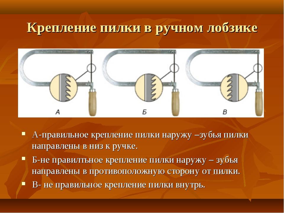 Крепление пилки в ручном лобзике А-правильное крепление пилки наружу –зубья п...