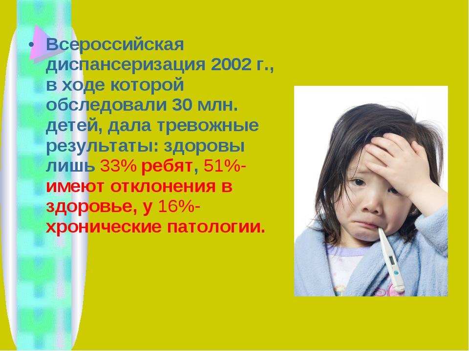 Всероссийская диспансеризация 2002 г., в ходе которой обследовали 30 млн. дет...