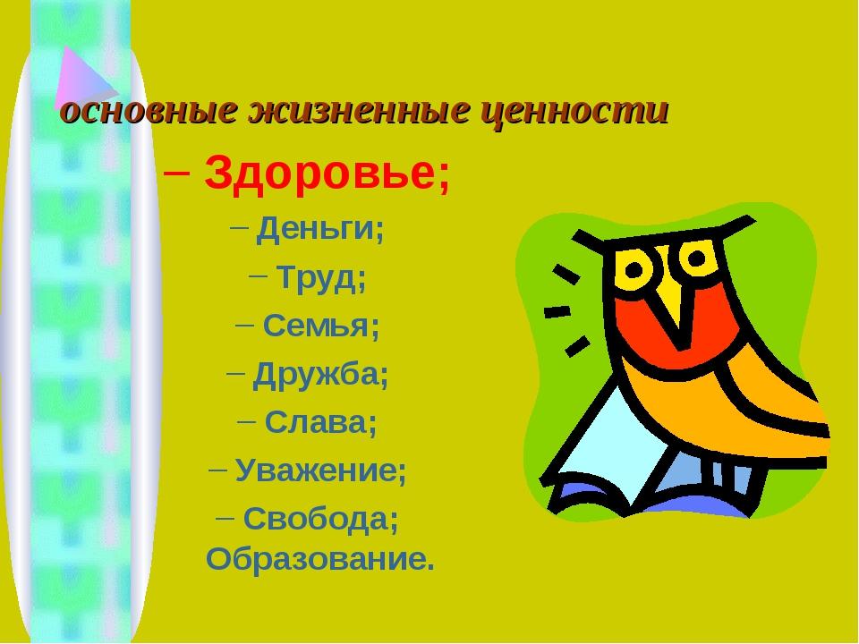 основные жизненные ценности Здоровье; Деньги; Труд; Семья; Дружба; Слава; Ува...