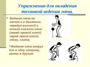 Упражнения для овладения техникой ведения мяча. Ведение мяча на месте и в дви